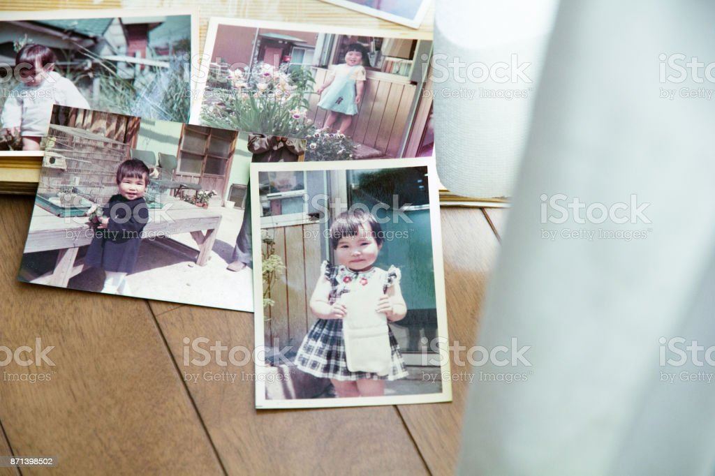 Old pictures, 70's child stock photo