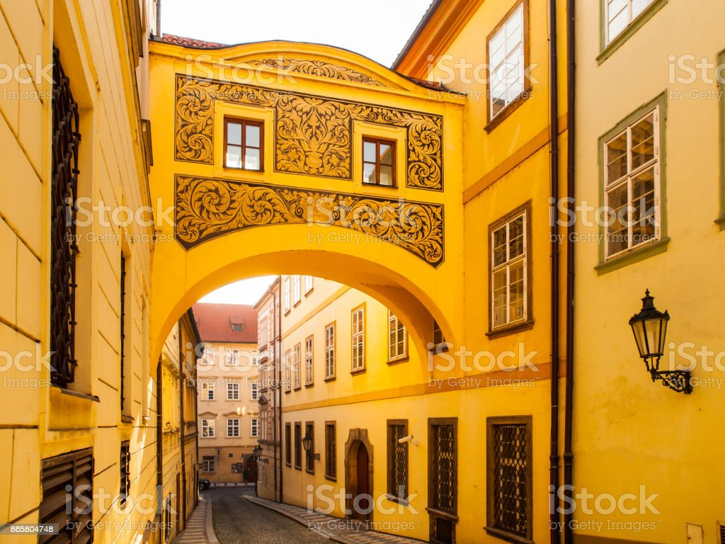 Old picturesque bridge in Thunovska Street, Lesser Town, Prague, Czech Republic stock photo