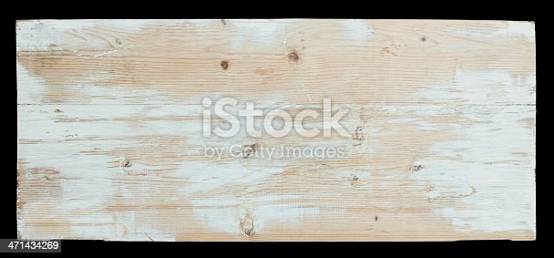 Old piece of weathered wood board, isolated on black, clipping path included.