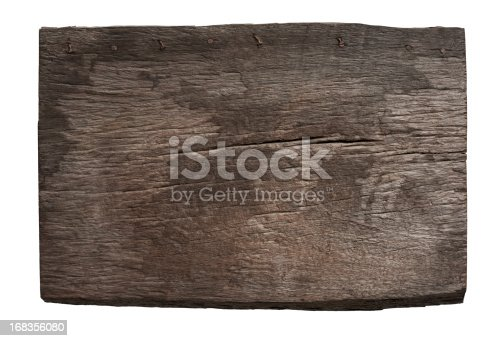 istock Old piece of weathered wood. 168356080