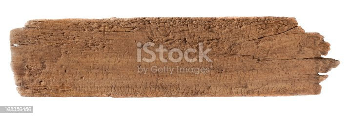 istock Old piece of weathered wood. 168356456