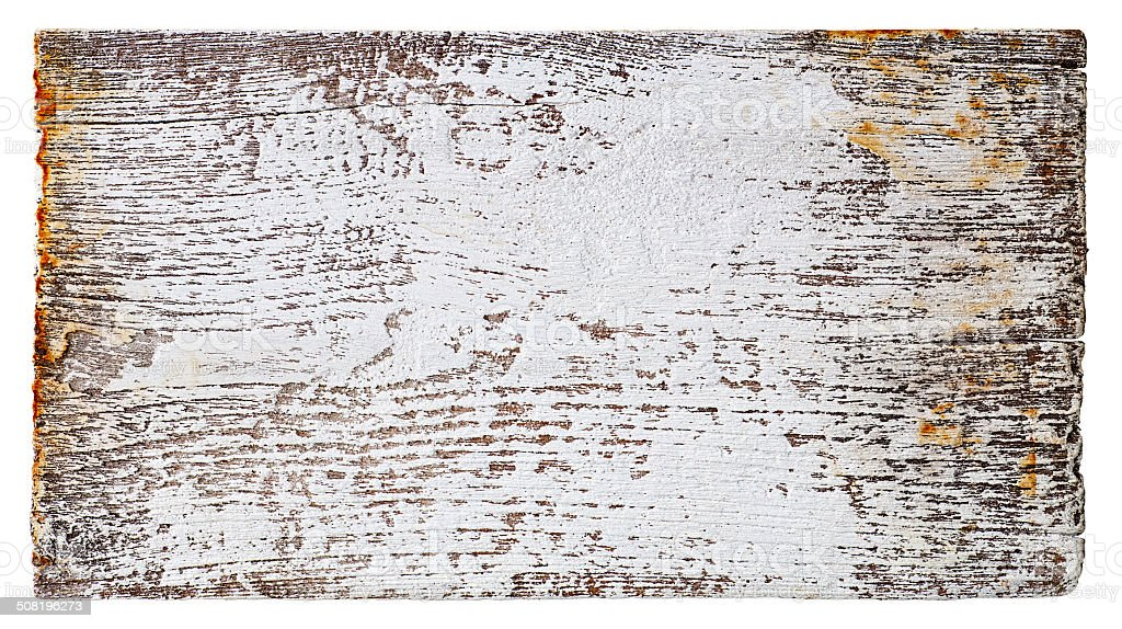 Old piece of white weathered wood board. stock photo