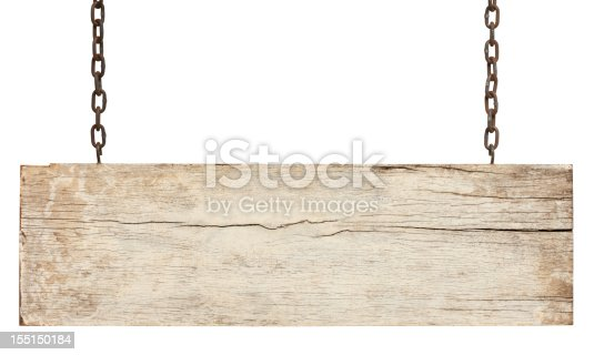 Old piece of white weathered wood signboard hanging by rusty chains, isolated on white,clipping path included.