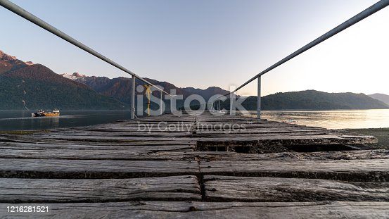 Old pier in Hornopiren, Los Lagos region, southern Chile