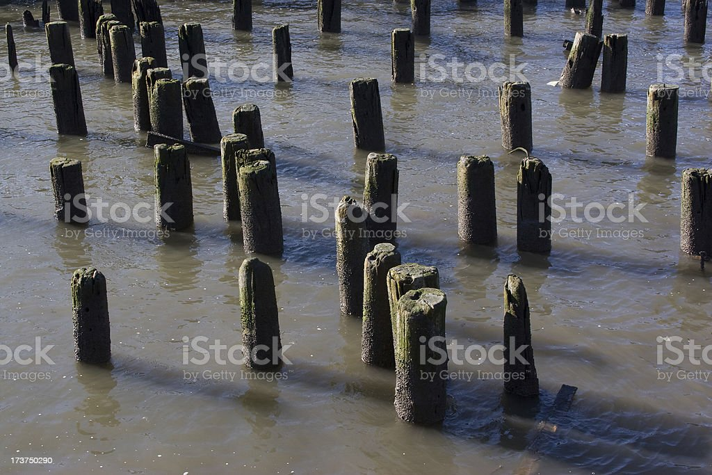 Old pier on the Riverside, New York stock photo