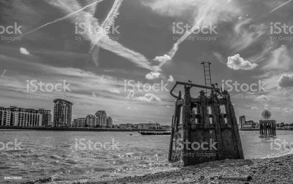 Old Pier Structure, Rotherhithe, London stock photo