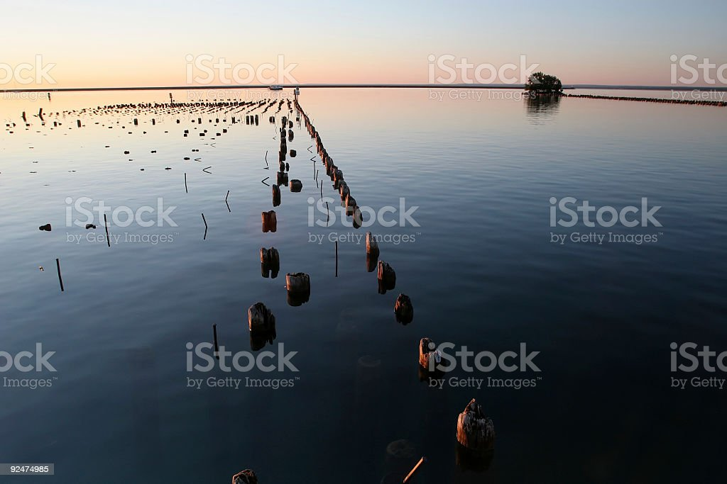 Old Pilings in Lake Superior royalty-free stock photo