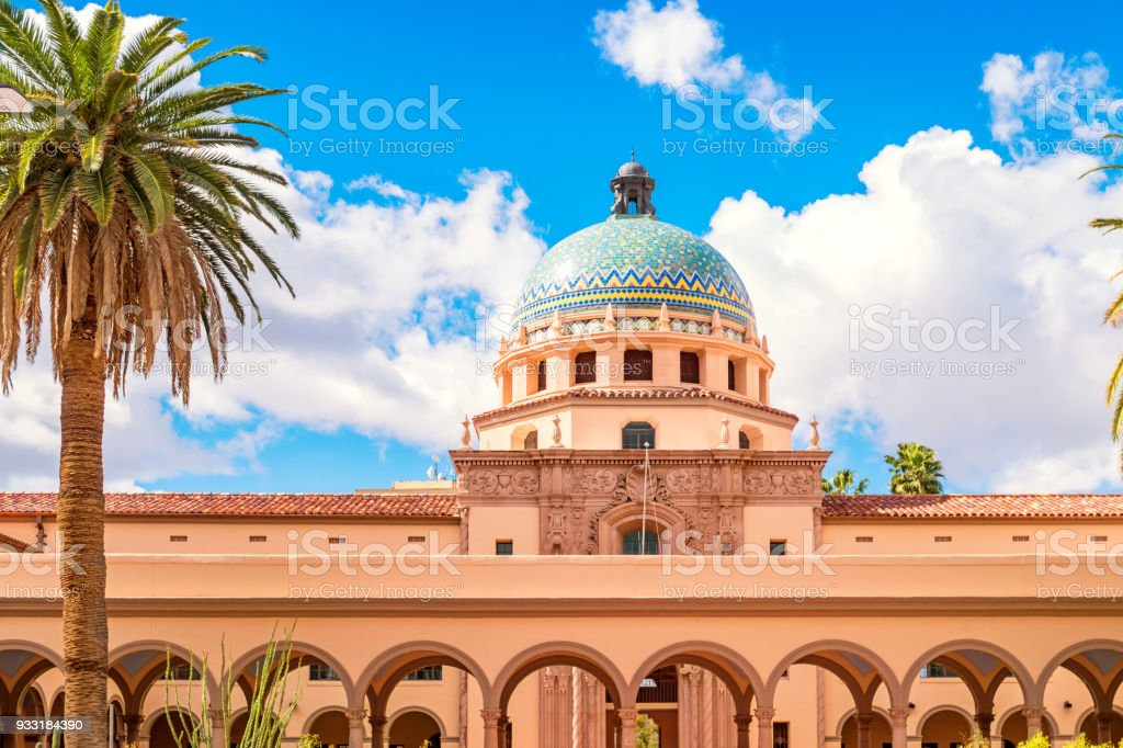 Old Pima County Courthouse in downtown Tucson Arizona Stock photograph of the landmark Old Pima County Courthouse in downtown Tucson Arizona on a sunny day. Arcade Stock Photo