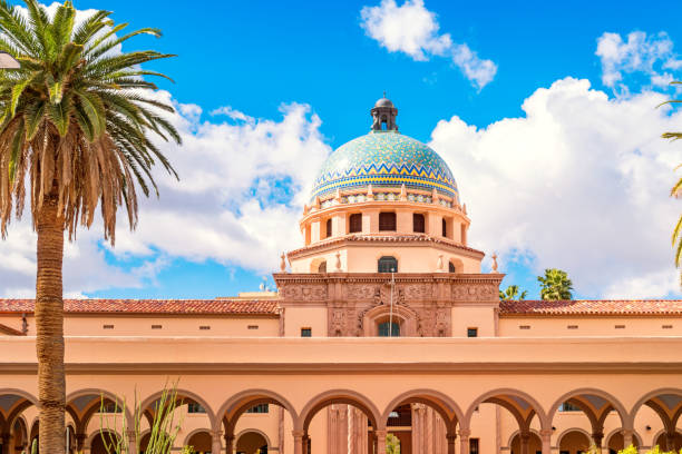 Old Pima County Courthouse in downtown Tucson Arizona Stock photograph of the landmark Old Pima County Courthouse in downtown Tucson Arizona on a sunny day. pima county stock pictures, royalty-free photos & images