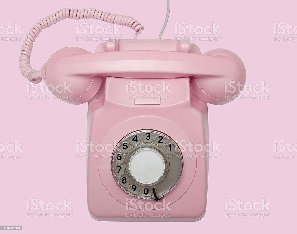 Vecchio Telefono Rosa Su Sfondo Rosa Con Percorso Fotografie Stock