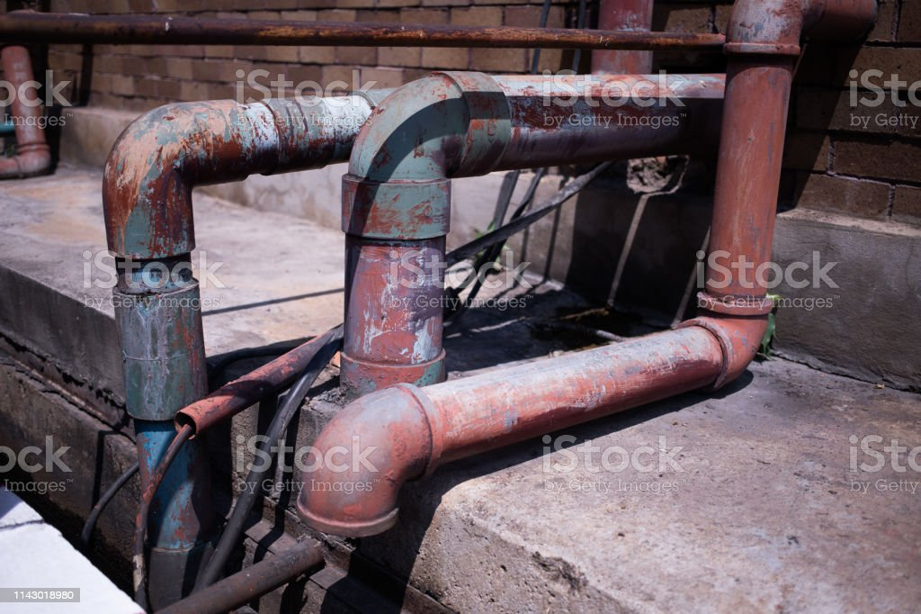 Old Pipe  water connection in industry stock photo