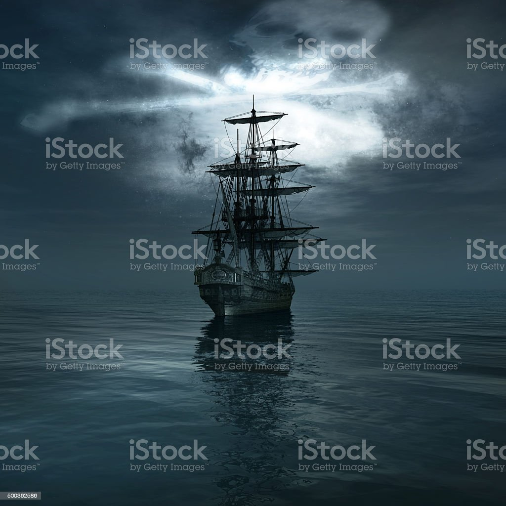 Old pirate ship stock photo