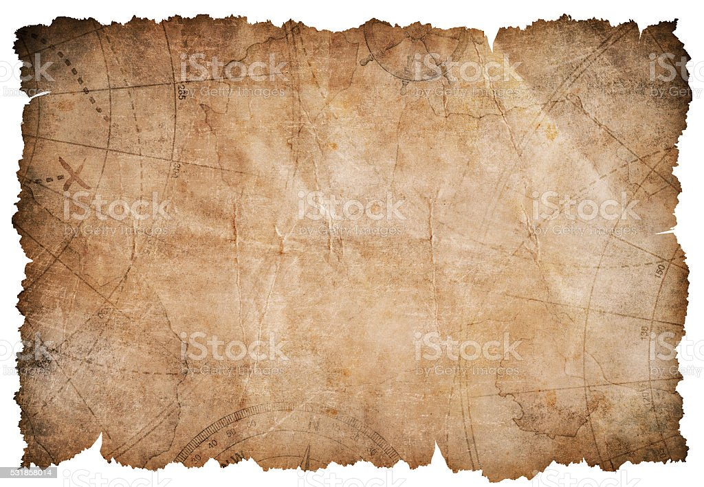 old pirates treasure map isolated stock photo
