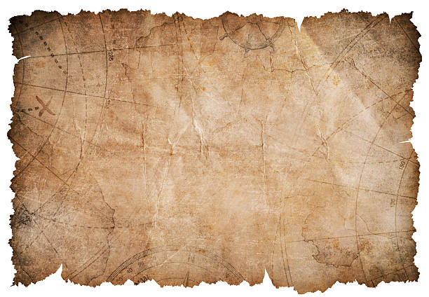 old pirates treasure map isolated - pirates stock photos and pictures