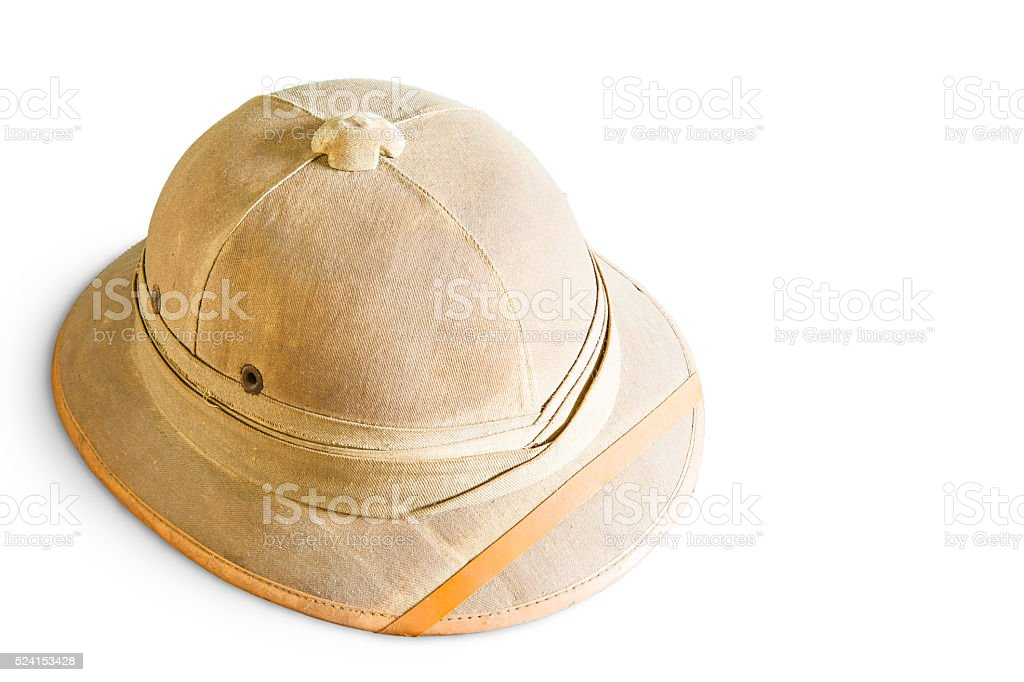 Old pith helmet isolated on white stock photo