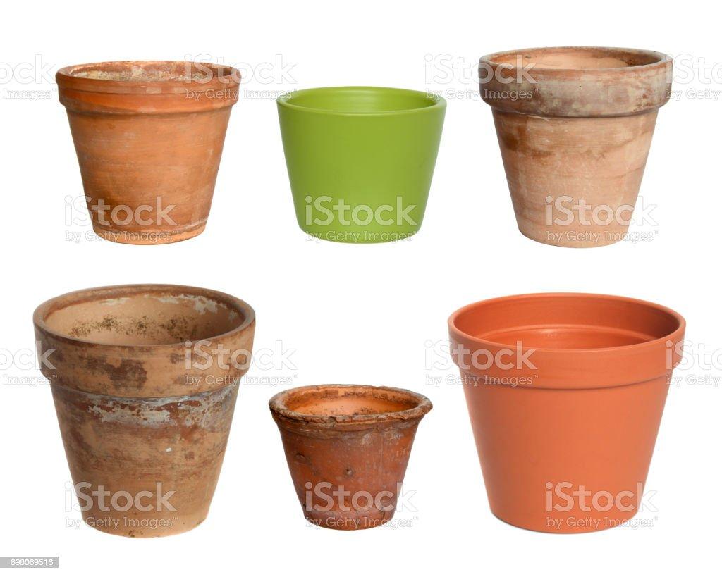 Old plant pots stock photo