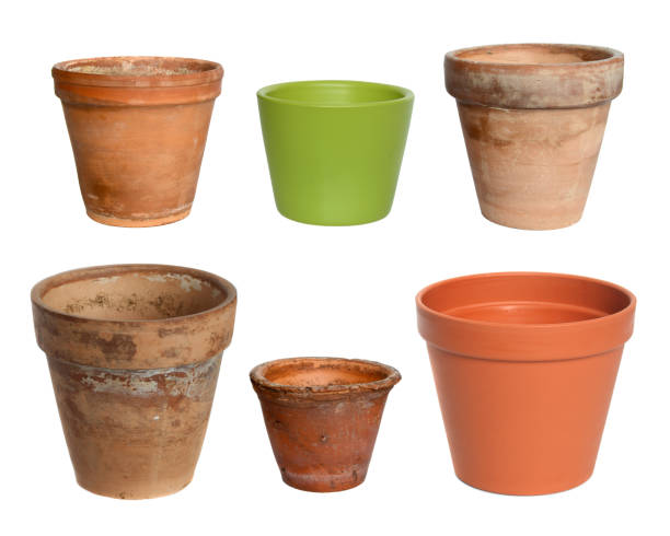 Old plant pots stock photo