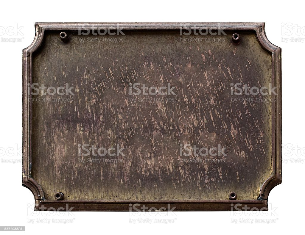 Old plaque isolated on white stock photo