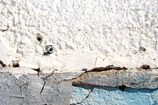Old Plaster Wall And Peeling Paint In Blue Stock Photo - Download Image Now