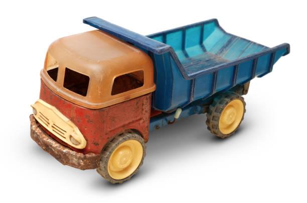 Old plastic toy, generic auto truck stock photo