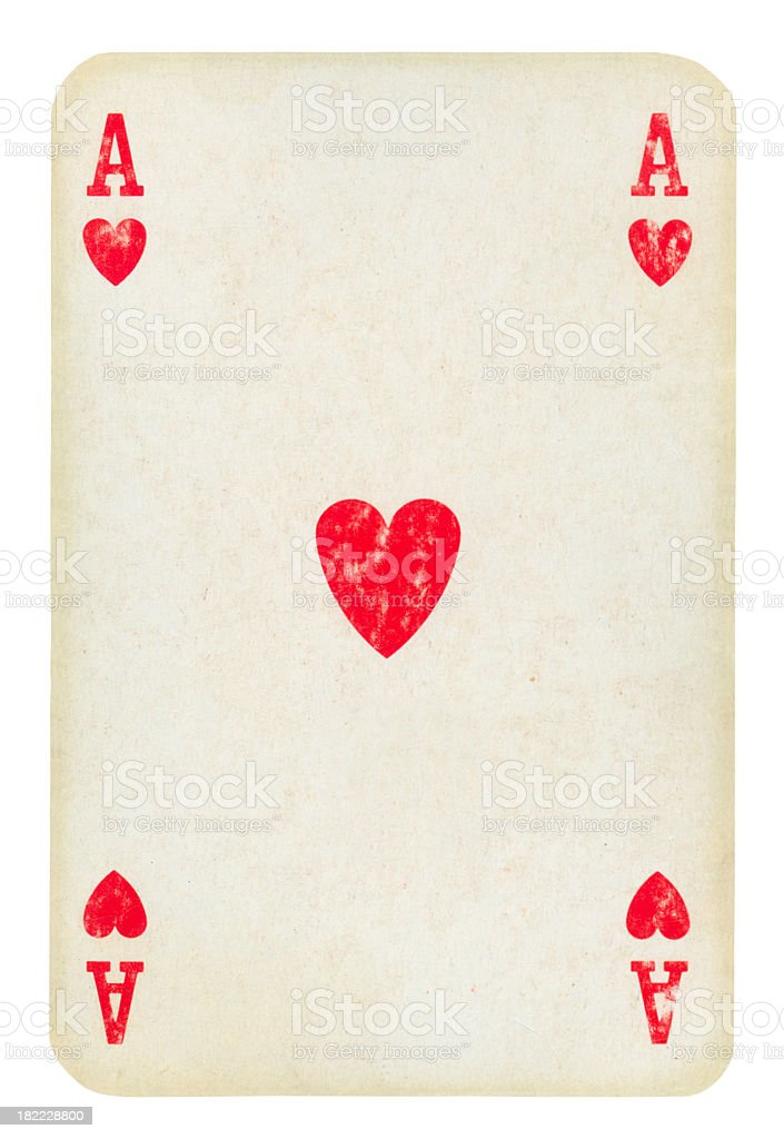Old Playing card Isolated (clipping path included) stock photo
