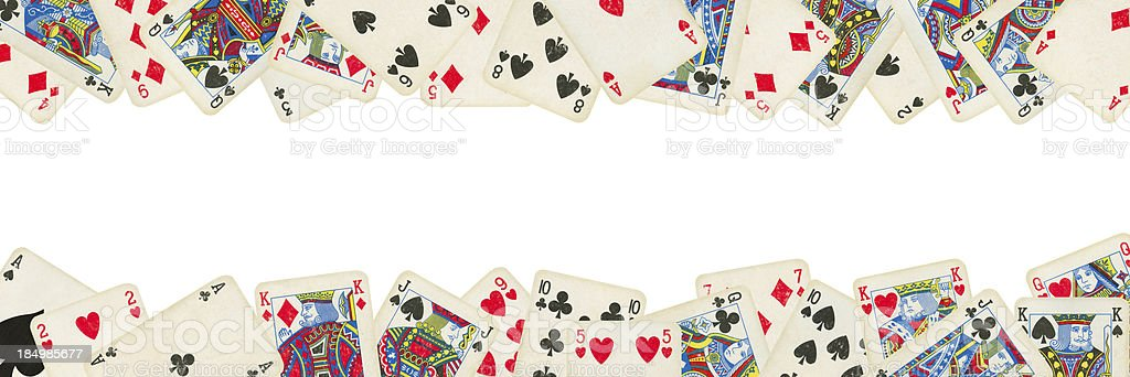 Old Playing cards Isolated (clipping path included) royalty-free stock photo