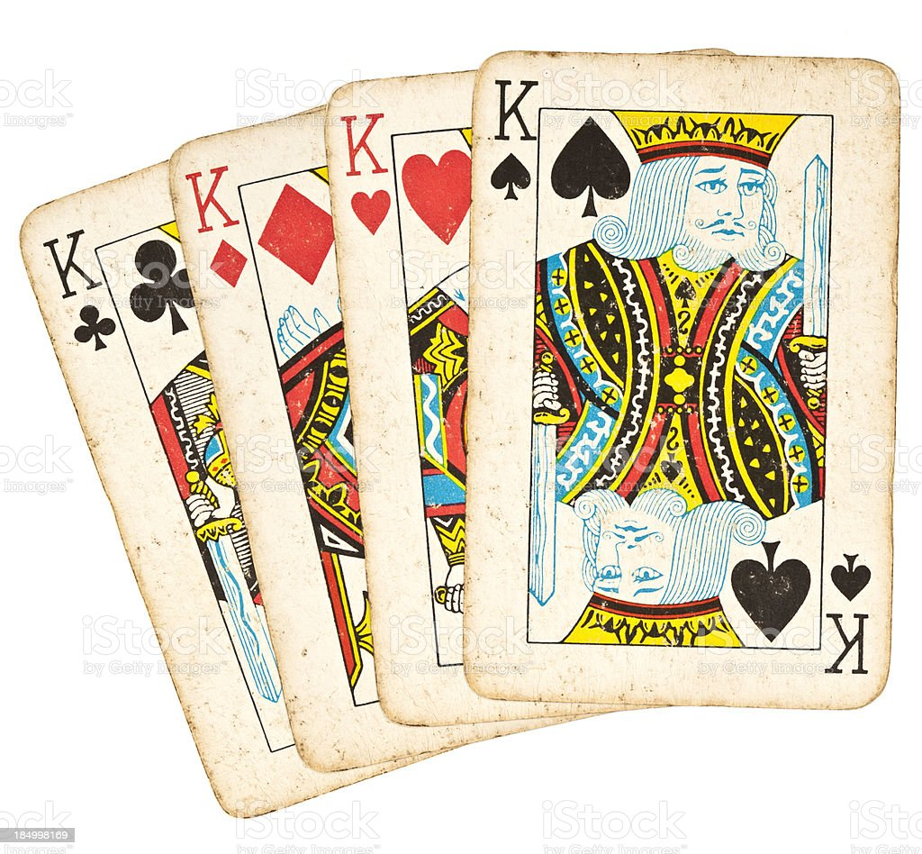 Old Playing Cards - Set of Kings stock photo
