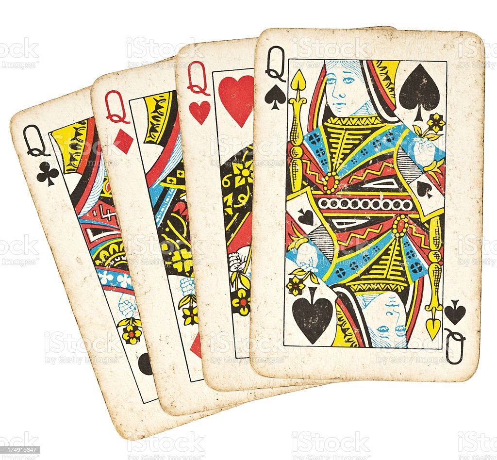 Old Playing Cards - Set of Queens stock photo