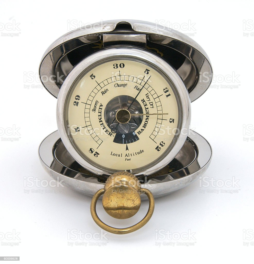 Old pocket barometer displaying fair weather. Closeup, isolated stock photo