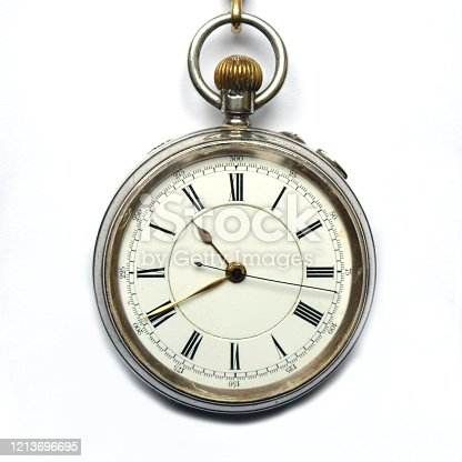 Close-up of a vintage pocket watch with chain representing the concept of time is money.
