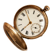 vintage pocket watch with chain on orange color background