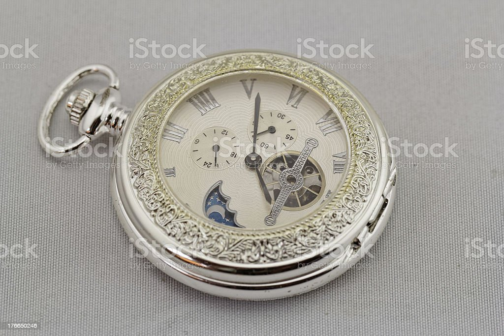 old pocket watch on white background royalty-free stock photo