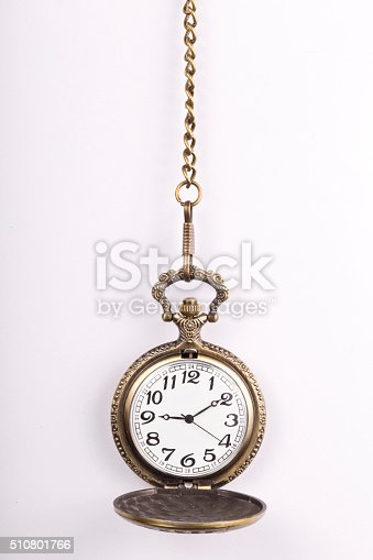 Hanging pocket watches in a antique shop