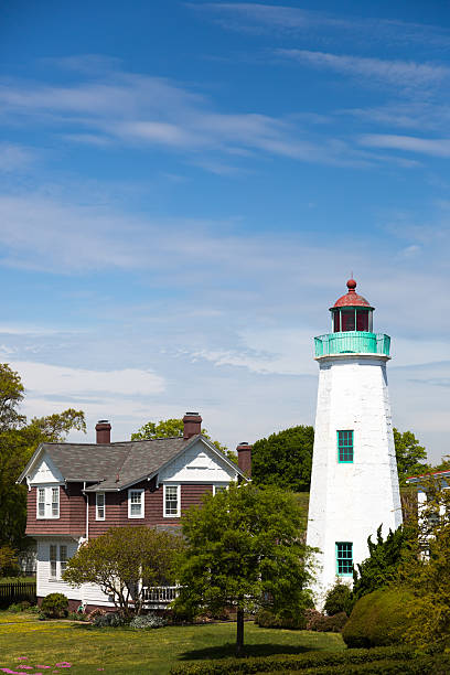 old point comfort lighthouse - carolinemaryan stock pictures, royalty-free photos & images