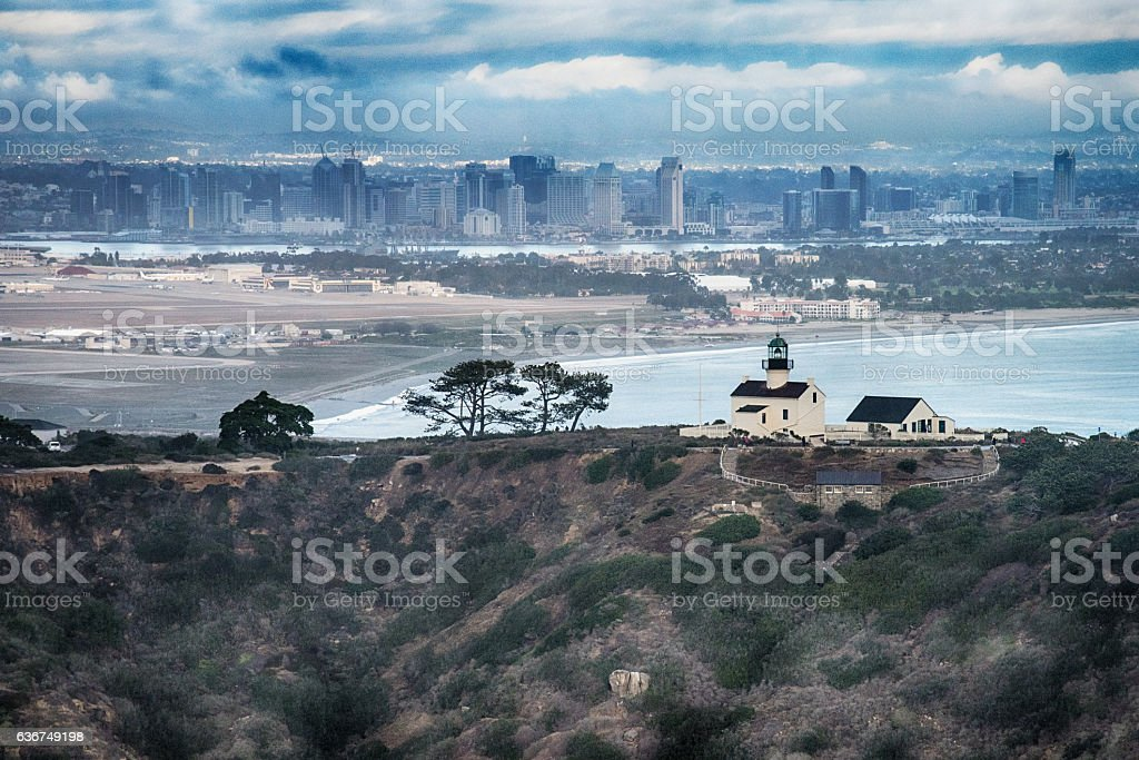 Old Point Loma Lighthouse and San Diego Skyline stock photo