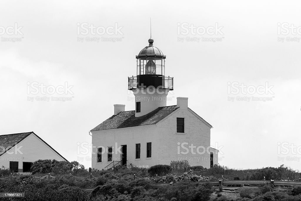 Old Point Loma Lighthouse in Black and White royalty-free stock photo