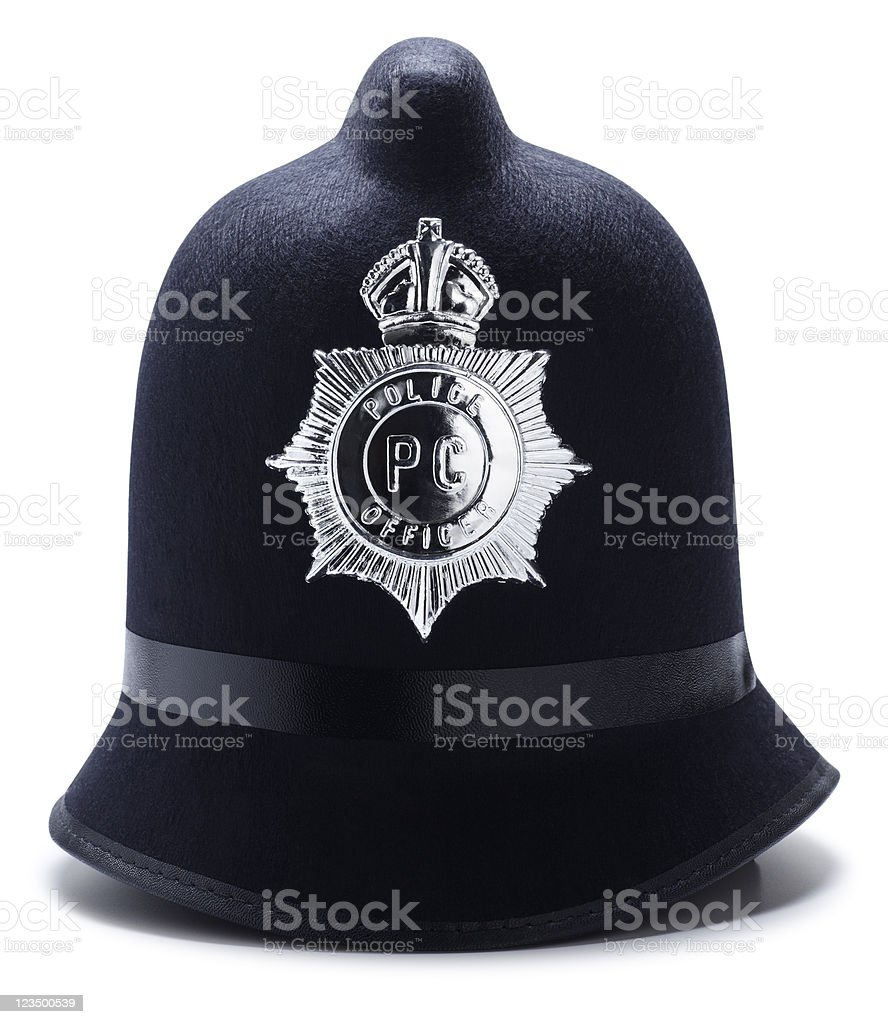 Old Police Hat Isolated on White stock photo