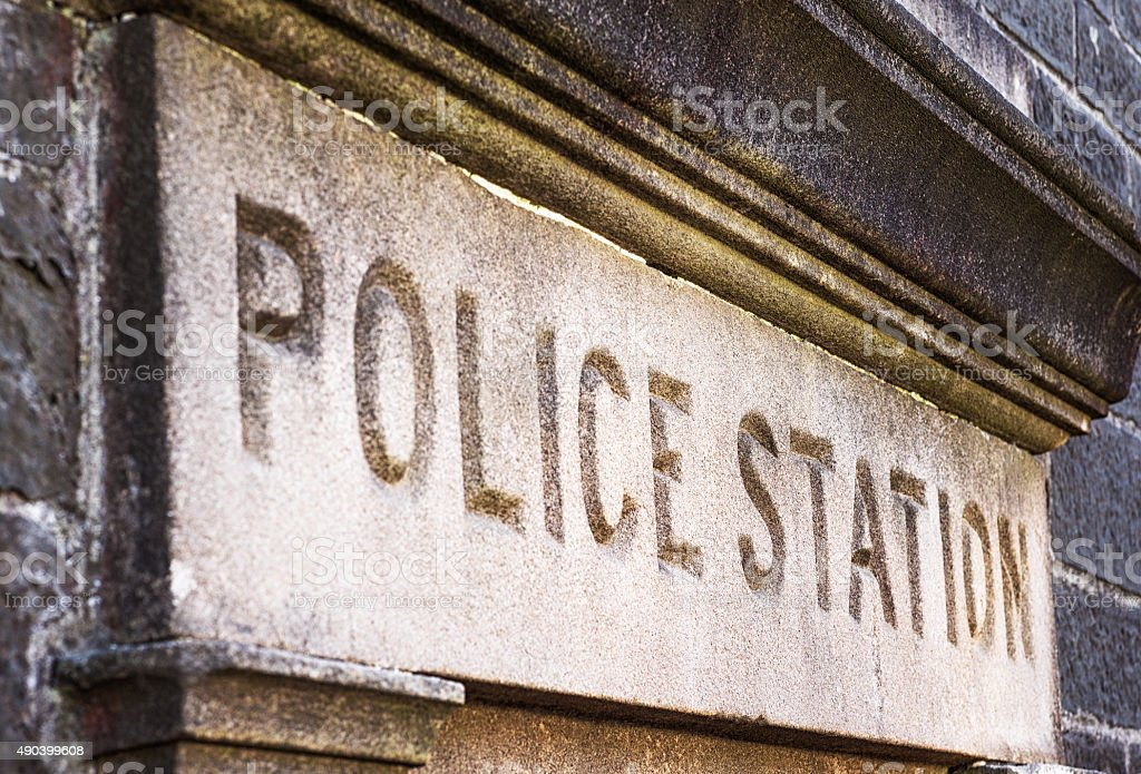 Old Police Station Sign stock photo