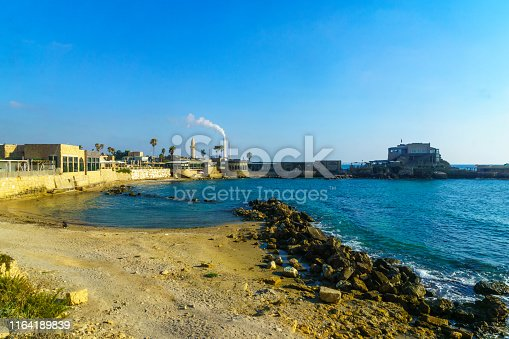 View of the old port (Roman Era), in Caesarea National Park, Northern Israel