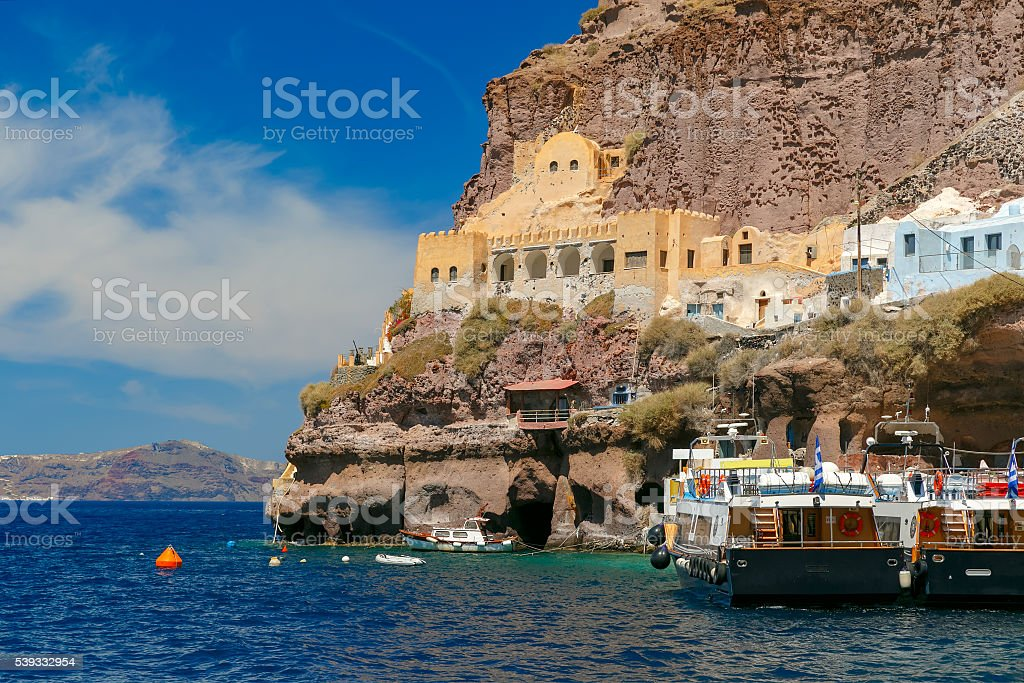 Old Port of Fira, main town Santorini, Greece stock photo