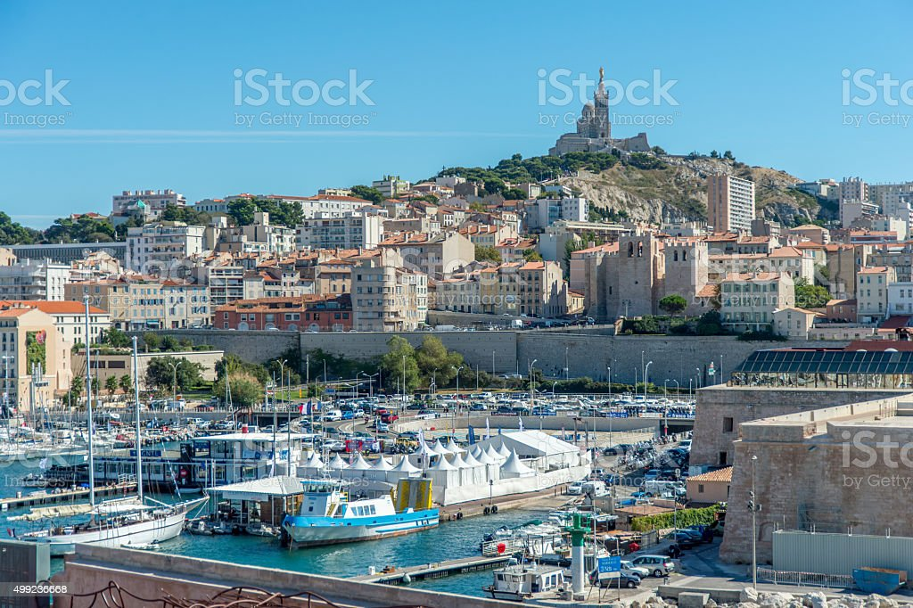 Old port of marseille. stock photo