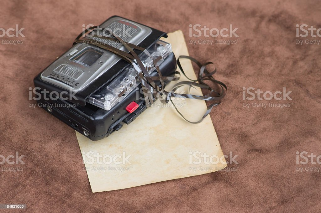 Old portable cassette player stock photo