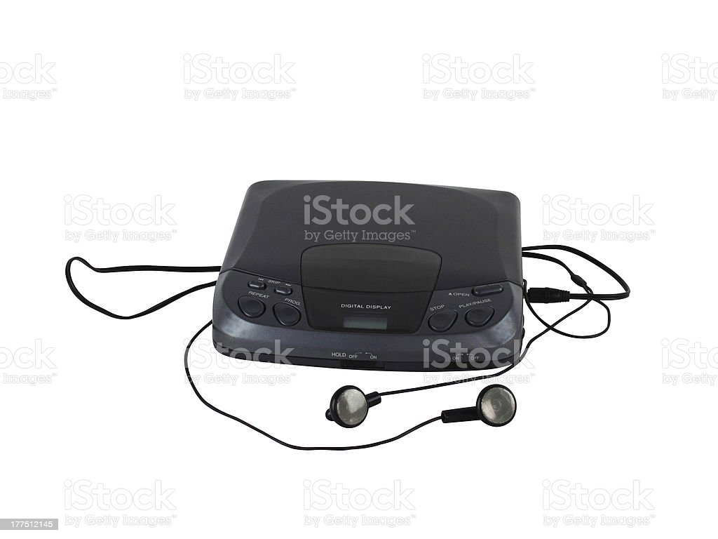 Old portable CD audio player stock photo