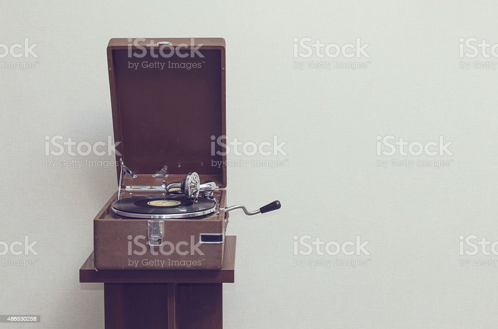Old portable gramophone stock photo