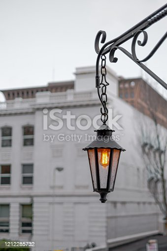 An old post lamp in Spokane, WA
