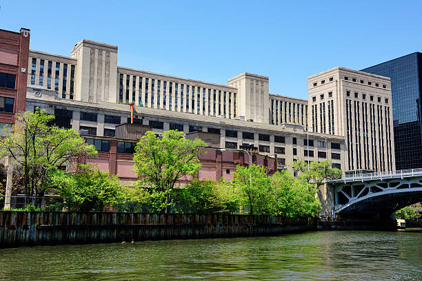 Old post office  from  the Chicago River stock photo
