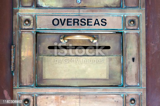 Old post office mailbox for OVERSEAS mail, copy space, horizontal composition