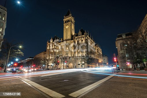 Old post office Washington DC with traffic light at night, United States, USA downtown, Architecture and Landmark with transportation, Historic travel and tourist concept