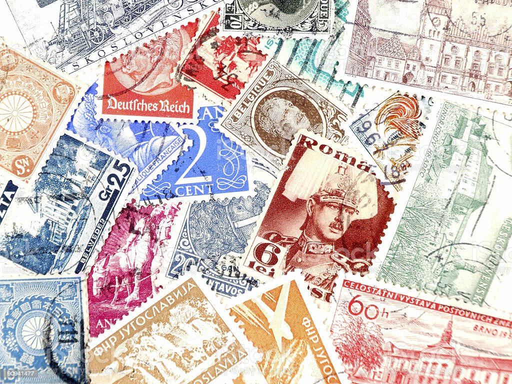 Old post stamps from Europe royalty-free stock photo