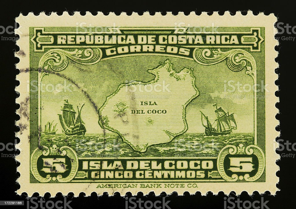 Old postage stamp from Costa Rica royalty-free stock photo